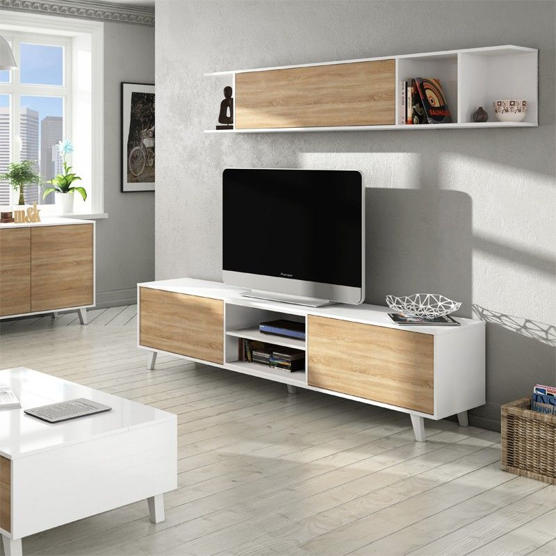 mueble saln zaiken plus roble canadian blanco - Muebles De Salon Blanco
