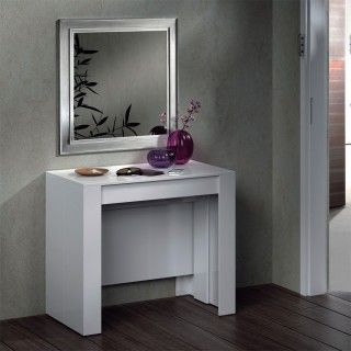 Mesa Consola Extensible 004580BO Blanco Brillo