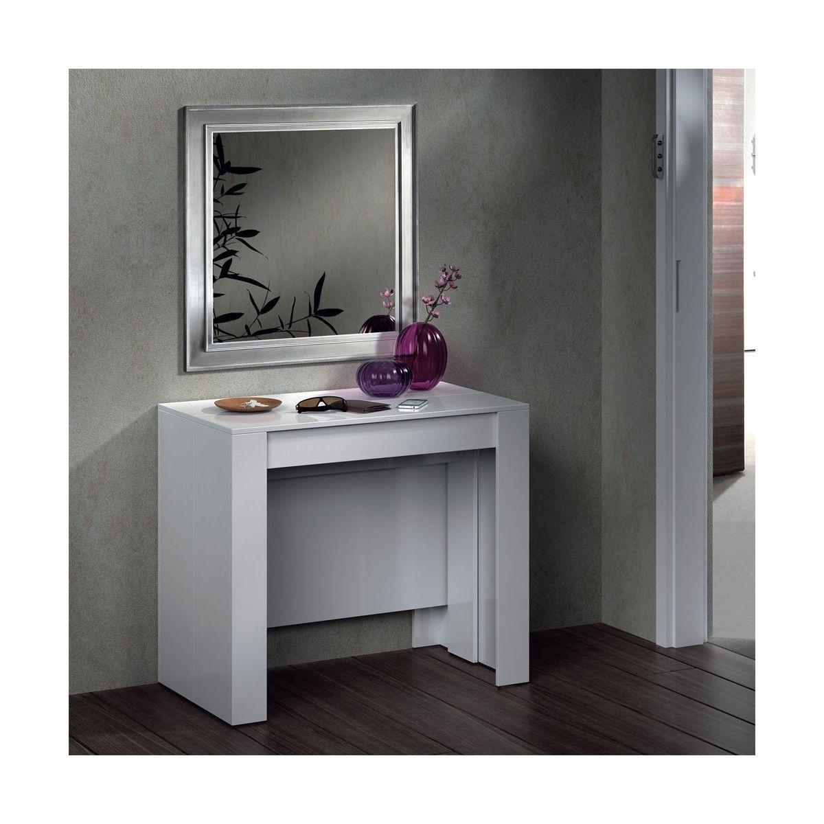 Mesa Consola Extensible Blanco Brillo TOP VENTAS