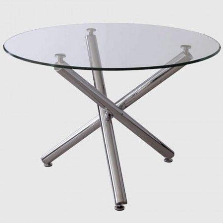 Mesa sal n comedor vita redonda cristal mesas baratas - Mesas cristal salon ...