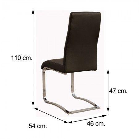 Pack de 4 sillas comedor CAMILA polipiel negra pata cromo
