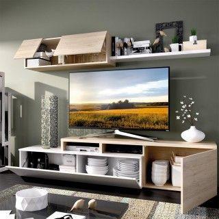 Mueble de salón ELLE Blanco con Roble Natural