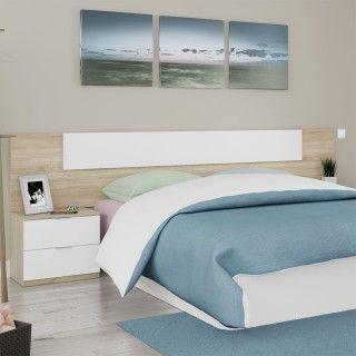 Dormitorio LUCA 016075F Cabecero y Dos Mesitas en Roble Canadian y Blanco Artik