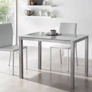 Mesa cocina cristal SOUL fija berenjena
