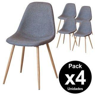 Pack 4 sillas salón comedor NAIROBI tapizado gris