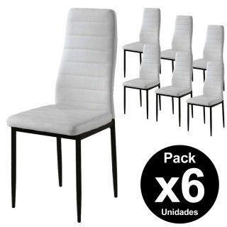 Pack 6 Sillas ANE Símil Piel Blanca