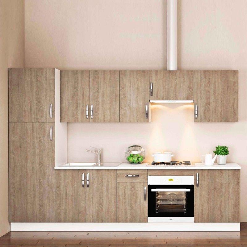 Cocina completa MARTA composición 300 cm. con despensero roble