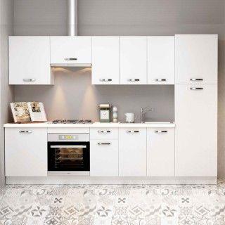 Cocina completa MARTA composición 300 cm. con despensero blanco