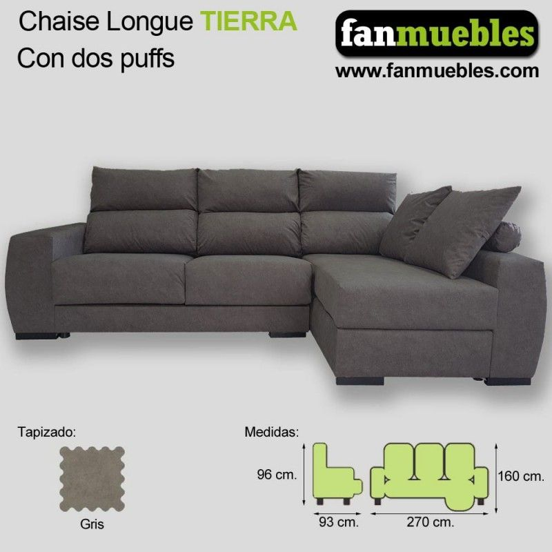 Sofá Chaise Longue TIERRA Extraible y Reclinable 270 cm.