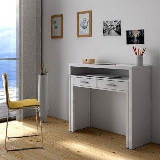 Mesa consola escritorio desplazable blanco Artik Cerrado