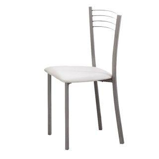 Pack 4 sillas cocina KITCHEN tapizado PVC blanco
