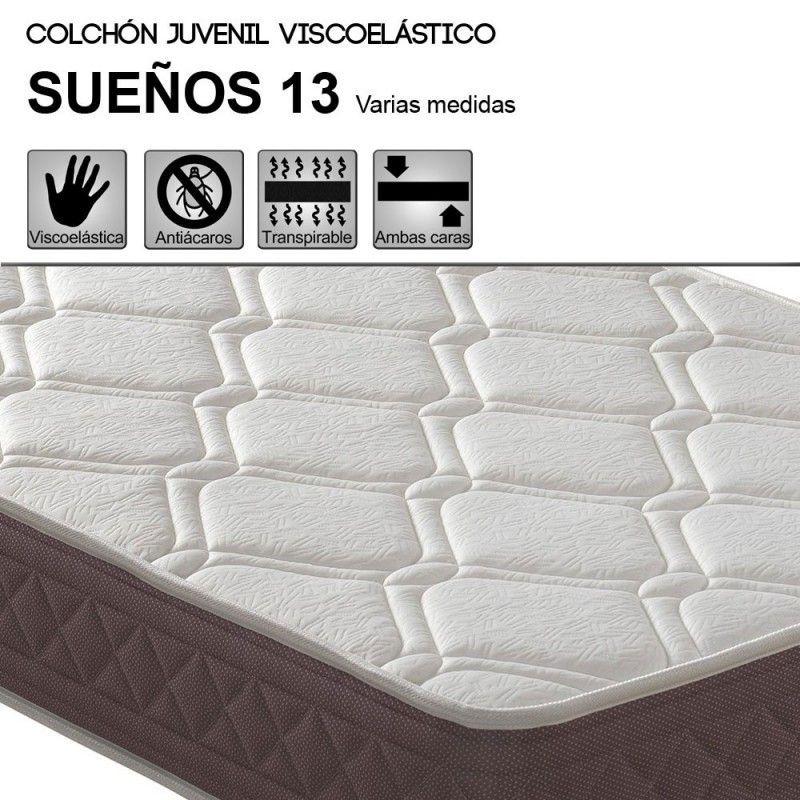 Colchón juvenil HR + VISCOELASTICA SUEÑOS Grosor 13 cm.
