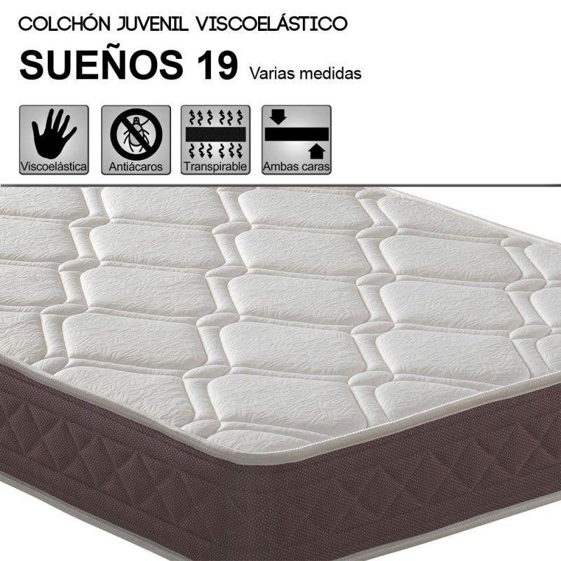Colchón juvenil HR + VISCOELASTICA SUEÑOS Grosor 19 cm.