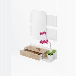 Recibidor TEKKAN Blanco Canadian con 1 cajon y espejo