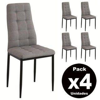 Pack 4 sillas comedor SONIA tapizado gris