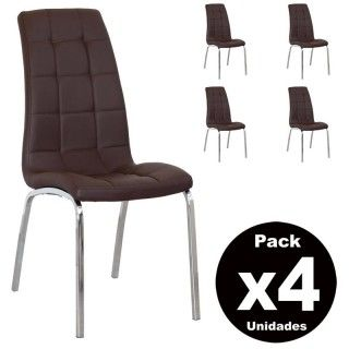 Pack de 4 sillas salón comedor ALEX polipiel chocolate pata cromo