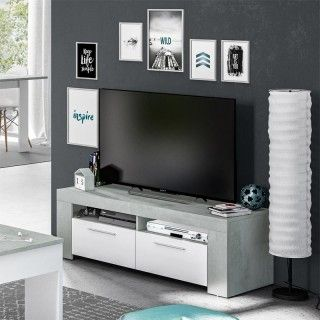 Mueble TV blanco Artik  cemento AMBIT