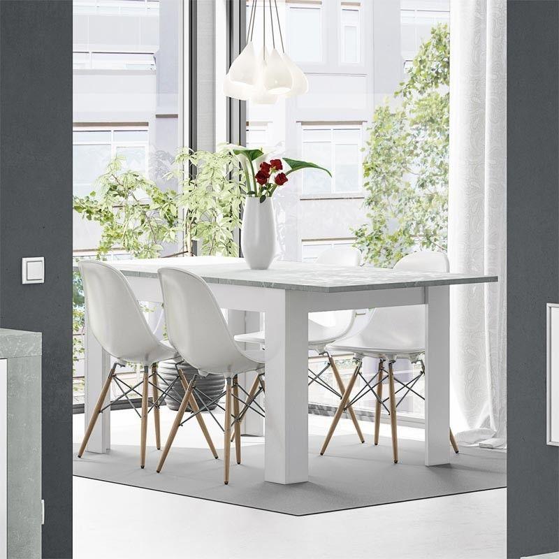 Mesa comedor extensible blanca artik y cemento kendra mesa madera - Mesa blanca comedor ...