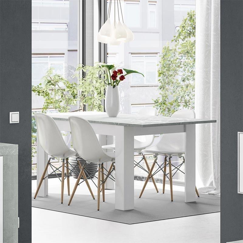 Mesa comedor extensible blanca Artik y cemento KENDRA | Mesa madera
