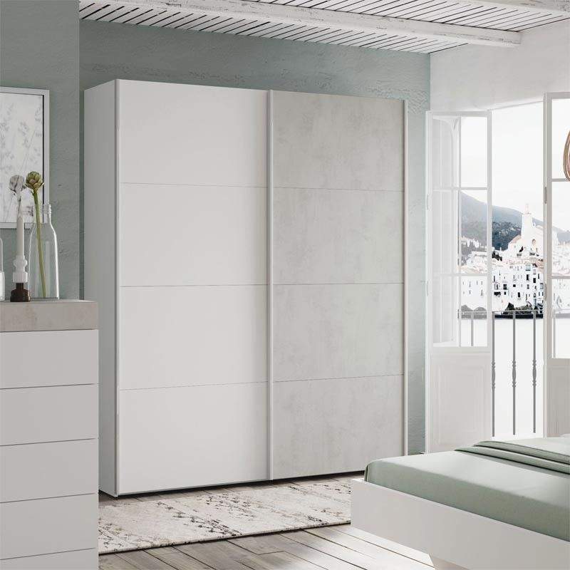 Armario puertas correderas blanco artik cemento tekkan for Muebles puertas correderas baratos