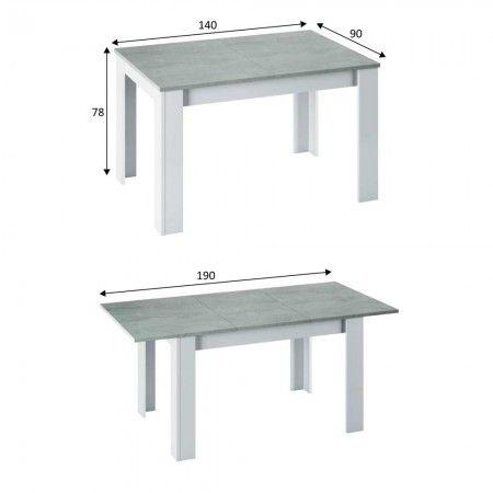 Mesa comedor extensible blanca KENDRA cemento Artik