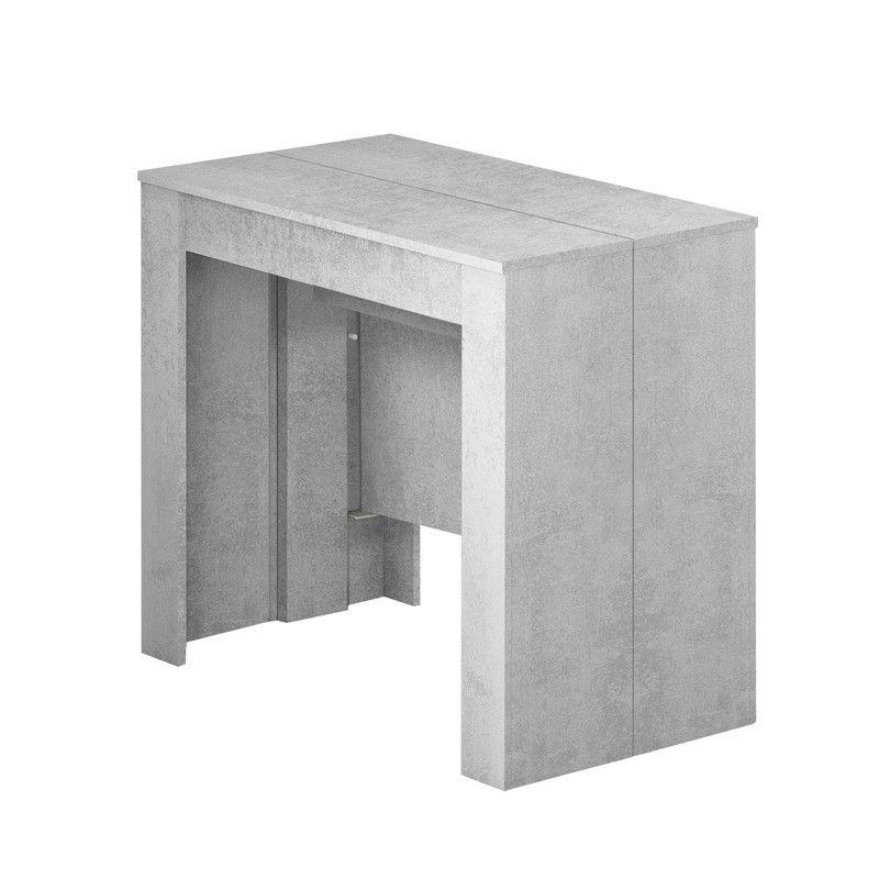 004580L Mesa consola extensible color cemento cerrada