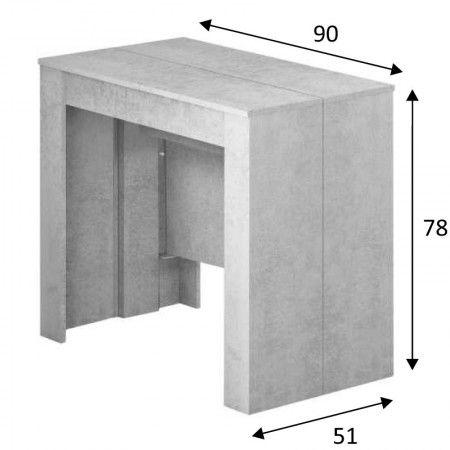 Mesa consola extensible color cemento. Mesa de comedor extensible