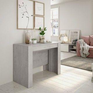 Mesa consola barata, 5 posiciones, en color cemento fanmuebles