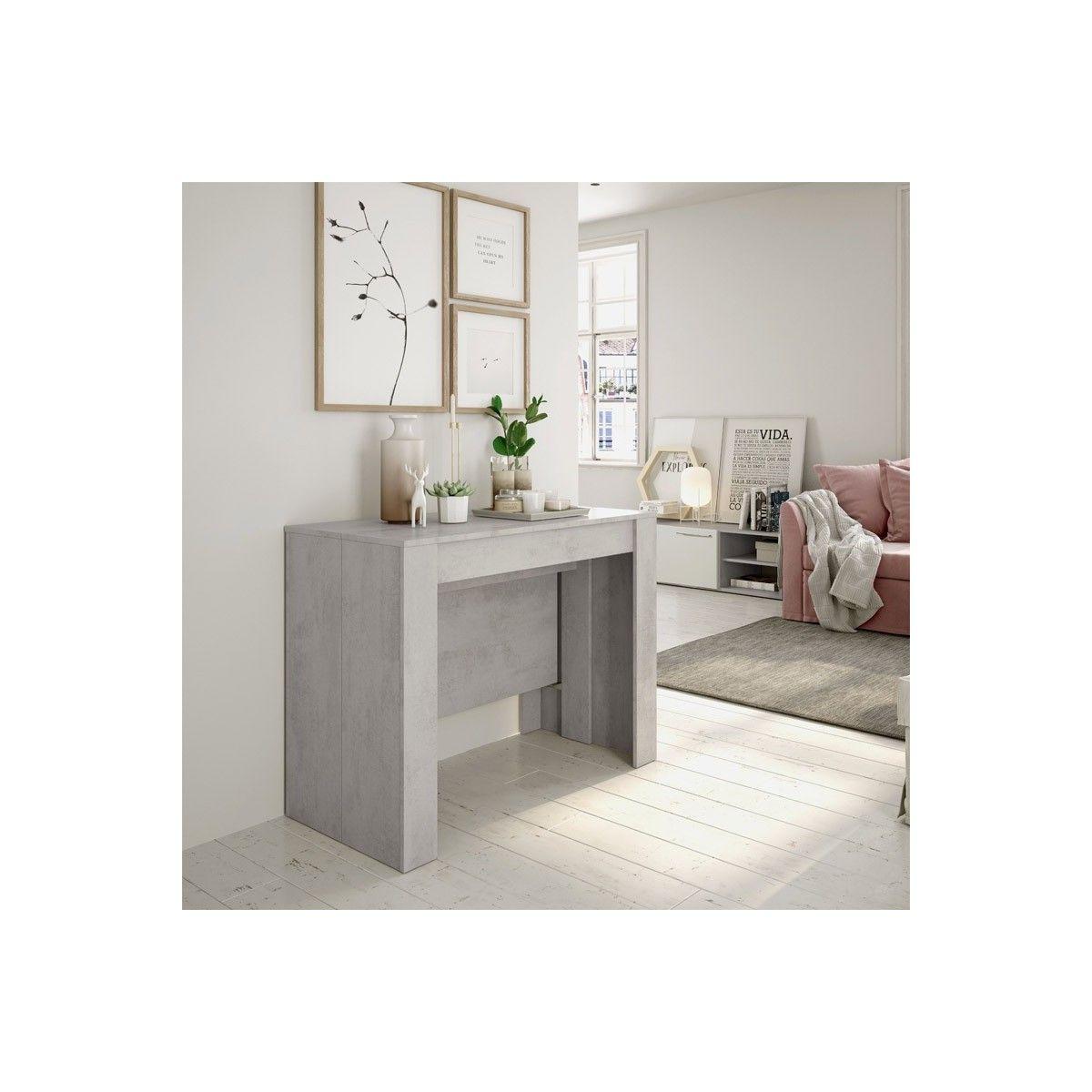 Mesa consola extensible color cemento   Mesa comedor extensible barata