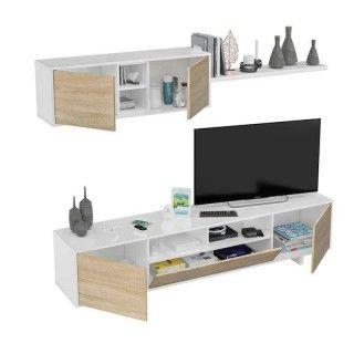 Mueble salón BELUS Roble. Mueble modular de sala