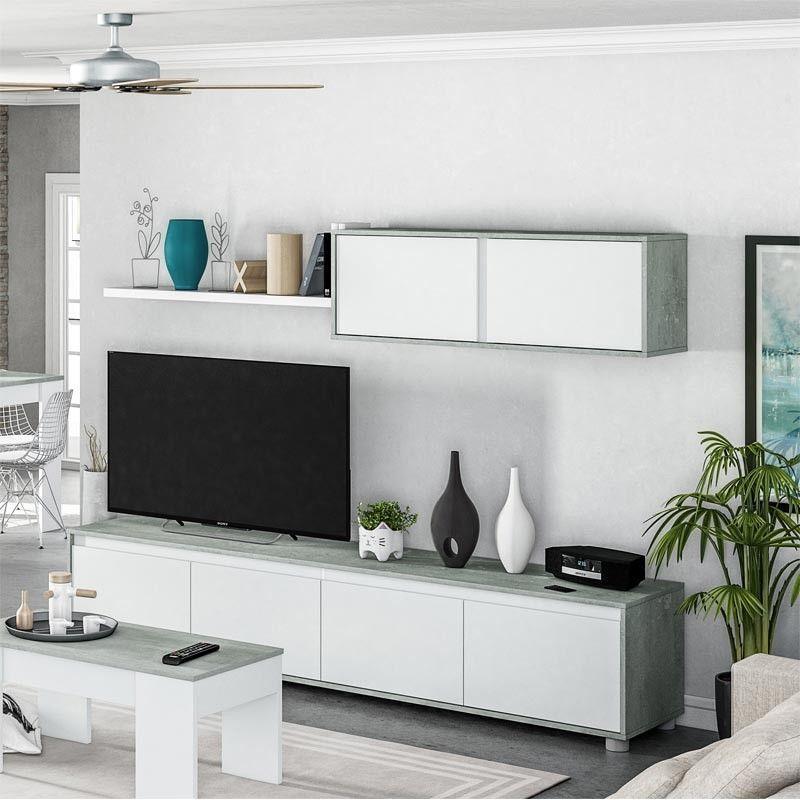 Mueble salón ALIDA Blanco Artik - Cemento