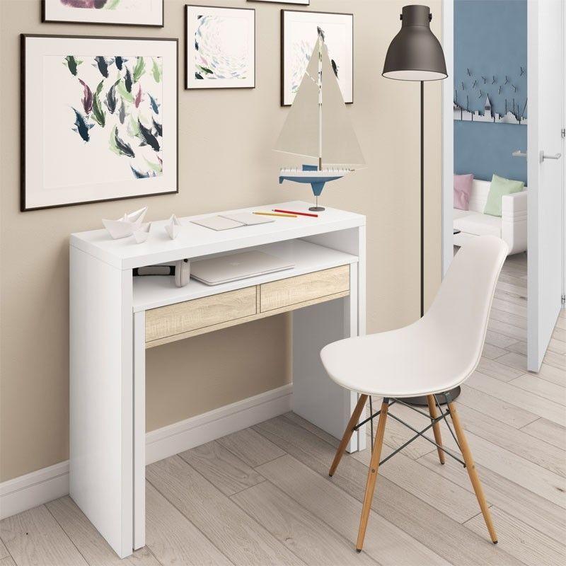 Mesa consola escritorio desplazable blanco Artik 0F4582A
