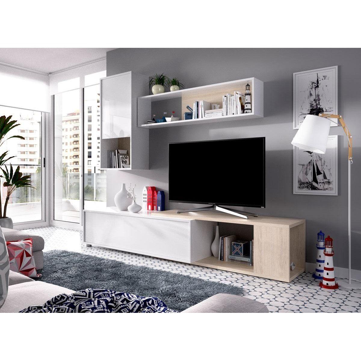 Mueble salón esquinero Obi blanco brillo  Muebles de salón baratos