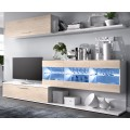 Mueble salón TV Han en color blanco brillo combinado con roble natural