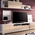 Mueble salón Ken blanco-roble natural