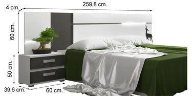Dormitorio CARMEN LED, cabecero con dos mesitas, medidas.