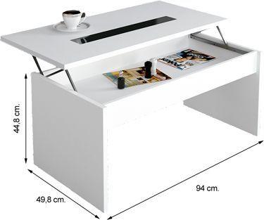 Moka mesa centro elevable blanca