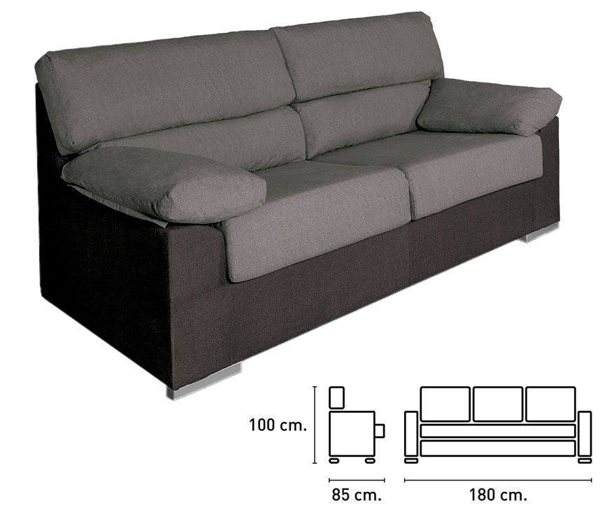 Sof tela bilbao marengo negro tresillos y sof s baratos fanmuebles - Medidas sofa 3 plazas ...