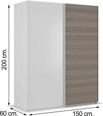 ARC155BO armario de dos puertas correderas blanco brillo y fresno
