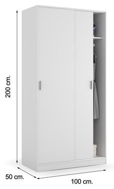 Armario puertas correderas max019o 100 cm blanco soft al - Armario dormitorio blanco ...