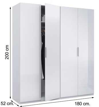 MAX054BO Armario ropero blanco 4 puertas blanco