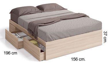 006088W cama de cuatro cajones KENDRA Nature