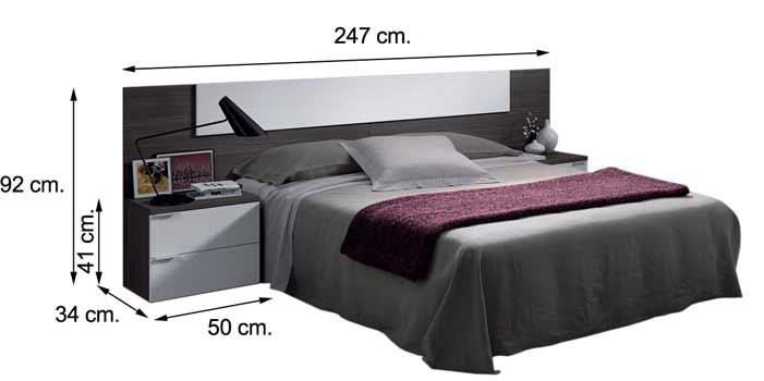 016072G dormitorio ADHARA Cabecero con dos mesitas