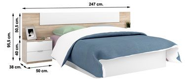 016075F dormitorio LUCA blanco Artik con roble Canadian