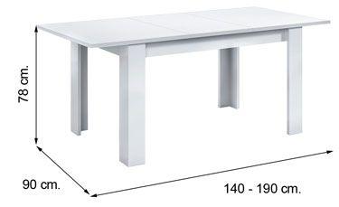 4586BO mesa comedor KENDRA blanco brillo