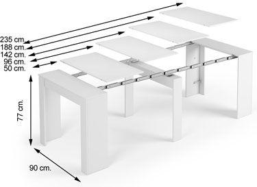 Esquema apertura mesa consola blanca