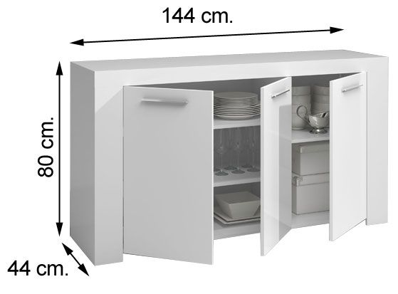 006620BO aparador buffet AMBIT en blanco brillo