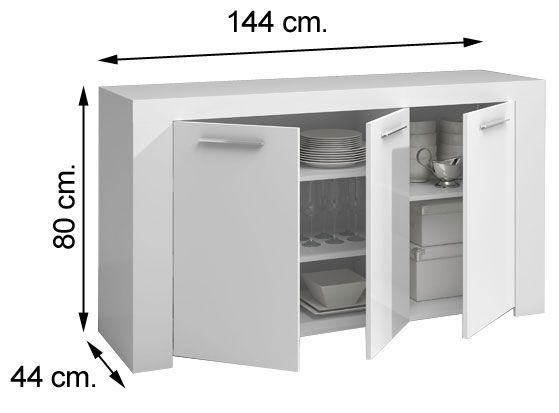 006620BO aparador buffet AMBIT en blanco brillo