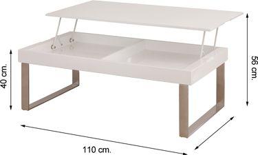Mesa centro elevable ZODIACO lacado blanco brillo