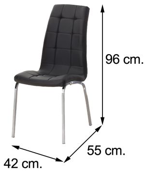 Medidas silla salón comedor ALEX polipiel negra